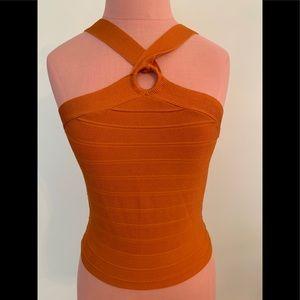 Orange ribbed knit top